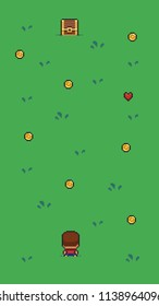 Pixel art upper view scene with character on grass meadow and different collectables, chest, coin, heart