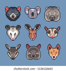 Pixel art vector Australian animals icons set.