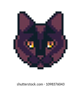 Pixel art vector Bombay cat icon isolated on white background.