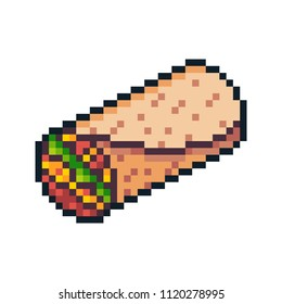 Pixel art vector burrito isolated on white background.