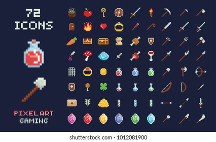 Pixel art vector game design icon video game interface set. Weapons, food, items, magic potion, crossbow, arrow, sword, gold, treasure isolated on black background. Retro arcade game design.