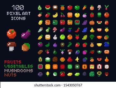 Videospiel-Interface-Set für die Vektorillustration von Pixel-Symbolen. Obst, Gemüse, Pilze, Nüsse. Einzelne Artikel des Spiels mit Retro-Arcade 8x8