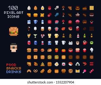 Videospiel-Interface-Set für die Vektorillustration von Pixel-Symbolen. Essen - Fastfood, Getränke, Süßigkeiten, Snacks, Alkohol, Bäckerei. Einzelne Artikel des Spiels mit Retro-Arcade 8x8