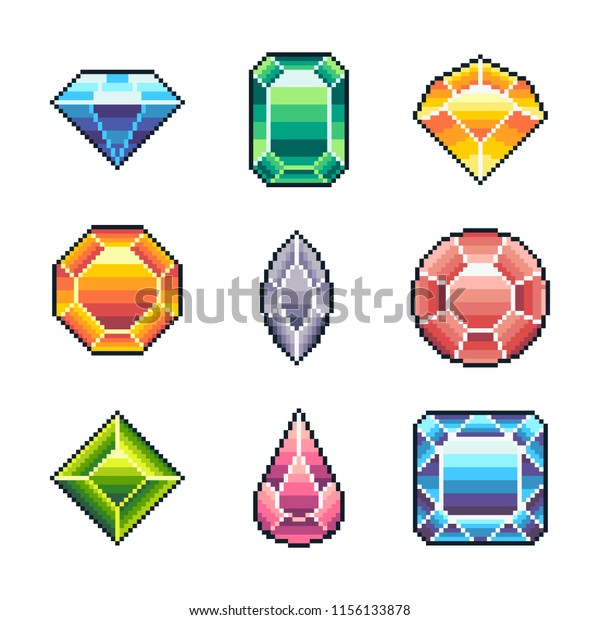 Pixel art vector gems for game isolated on white background.