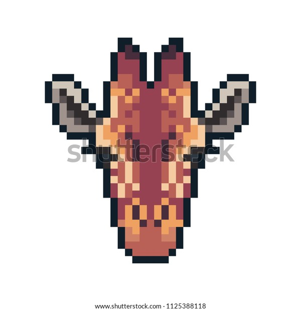 Pixel art vector giraffe isolated on white background.