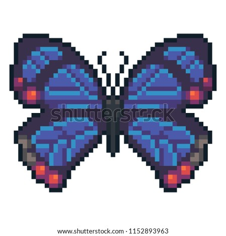 Pixel art vector hairstreak butterfly isolated on white background.