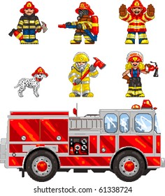 Pixel art Vector illustrated set of icons, depicting firefighters and a firetruck. Artwork is composed of editable vector square and is clearly and crisply readable in both large and tiny sizes.