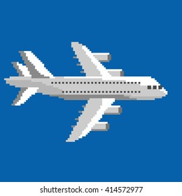 Pixel art vector illustration of airplane. Airline service. Flying air passenger transport