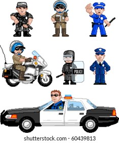 Pixel art Vector illustration of police. Artwork is composed of editable vector squares. Artwork is clearly and crisply readable in both large and tiny sizes.