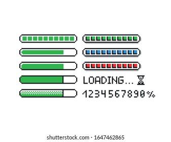 Illustrationssatz für die Vektorillustration von Pixel - 8-Bit-Leisten im Retro-Stil, Prozentzahlen, Textladen