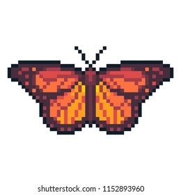 Pixel art vector monarch butterly isolated on white background.