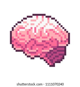 Pixel art  vector pink brain isolated on white background.
