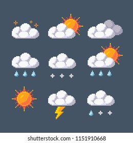 Pixel art vector weather application icons set.