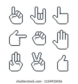 Pixel art vector white hands gestures cursors set.