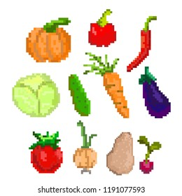 Pixel art vegetable. Vector illustration