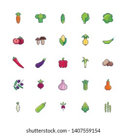 Pixel art vegetables set icon. Vector design for web design, mobile app, stickers and games.