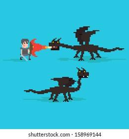 Pixel art warrior fighting against the dragon