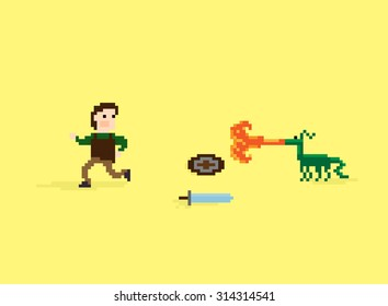 Pixel art warrior running away from the little dragon that breathe fire threw down his shield and sword