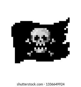 Pixel art waving flag with human skull - isolated vector illustration