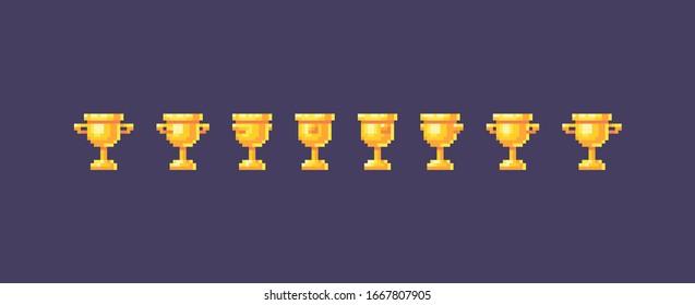 Pixel art winner cups symbol animation. Vector illustration.
