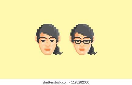 pixel art woman face logo icon vector