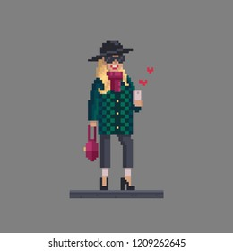 Pixel art woman personage. Fashion stylish girl with mobile phone chat in social networks.