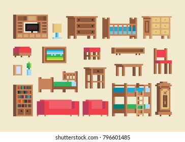 Pixel art wooden furniture and accessories vector set.
