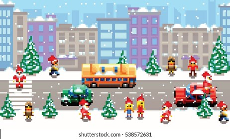 Pixel art xmas city scenery vector pattern background illustration