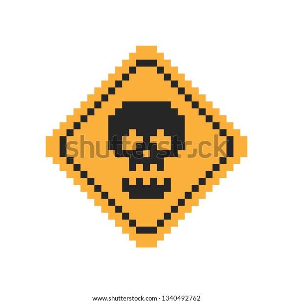Image Vectorielle De Stock De Pixel Art Yellow Road Sign