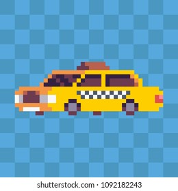Pixel art yellow taxi city car icon.