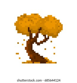 Pixel autumn yellow tree for games and applications