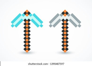 Pixel axes, pickaxe icons, symbols with shadow. Pixel arsenal. Elements games, web, ui. Vector illustration. EPS 10