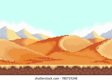 Pixel background. Desert. Seamless when docking horizontally