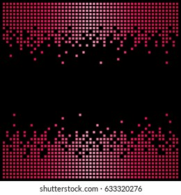Pixel background texture in red with copy space. Vector light bitmap pattern backdrop and message space.