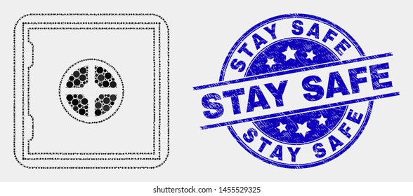 Pixel banking safe mosaic pictogram and Stay Safe seal. Blue vector round scratched stamp with Stay Safe message. Vector collage in flat style. Black isolated banking safe mosaic of random dots,