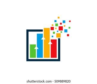 Pixel Bar Business Stats Logo Design Template