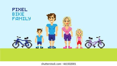 Pixel bike family, pixelated illustration. - Stock vector