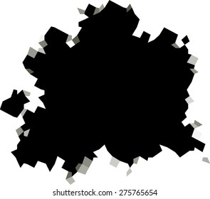 pixel black hole shape in white surface