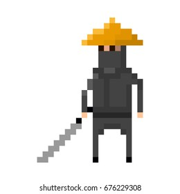 Pixel black ninja in a hat with a sword for games and applications