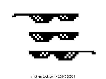 Pixel black sunglasses 8 bit. Spectacles for gangster and thug, bad guy. Internet meme. Accessory for rake and caricature. Vector flat on a white background. Retro.