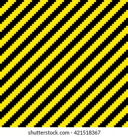 Pixel Black and Yellow Diagonal Warning Stripes Seamless Tile. EPS8 Vector