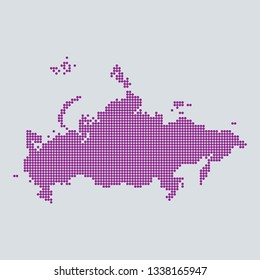 Pixel blue dot map on gray background of map of Russia symbol for your web site design map logo. Purple map of Europe. app, ui, Travel vector eps10, concept Illustration