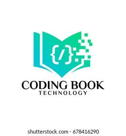 Pixel Book Logo template designs, Coding book Logo designs vector illustration