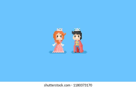 Pixel boy and girl in Prince and Princess costume.8bit character illustration.