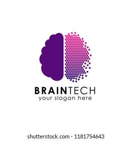 pixel brain logo design. digital brain logo design in pixel art style. brain tech vector icon