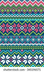 Pixel bright seamless pattern with stylized winter nordic ornament. Vector illustration.