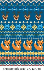 Pixel bright seamless winter pattern with stylized foxes and deers. Vector illustration.