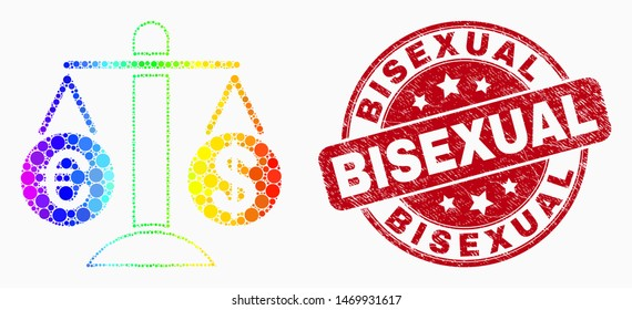 Pixel bright spectral compare euro dollar mosaic pictogram and Bisexual seal stamp. Red vector rounded grunge seal stamp with Bisexual caption. Vector collage in flat style.