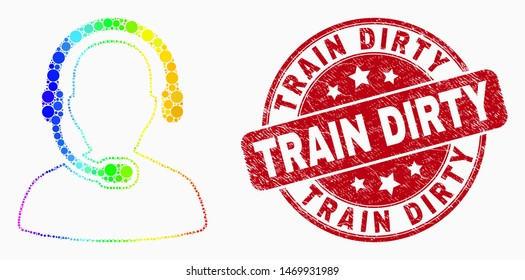 Pixel bright spectral radio operator mosaic pictogram and Train Dirty seal stamp. Red vector round distress seal stamp with Train Dirty caption. Vector composition in flat style.