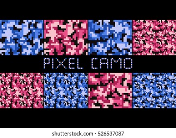 Pixel camo seamless pattern Big set. Urban, pink, blue, brown camouflages. Vector fabric textile print designs
